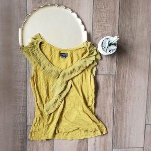 Deletta Anthro Ruffle Trim Yellow Blouse S